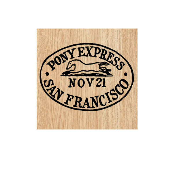 Pony Express Postmark Wood Mount Rubber Stamp