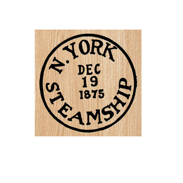 N. York Steamship Postmark Wood Mount Rubber Stamp