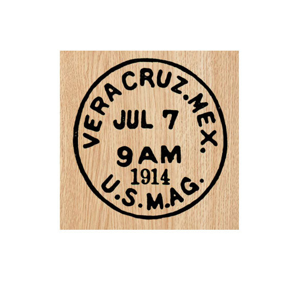 Vera Cruz Mexico Postmark Wood Mount Rubber Stamp