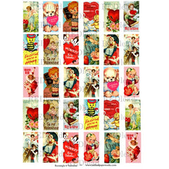 vintage valentine collage sheets