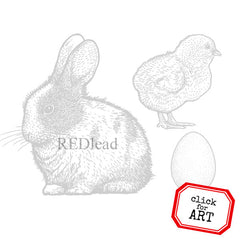 Springtime Bunny and Chick Rubber Stamp Save 20%