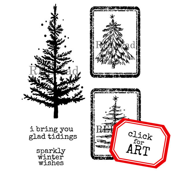 Glad Tidings Christmas Rubber Stamp