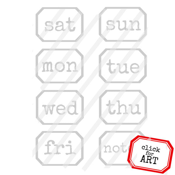 Days of the Week Little Label Rubber Stamp Save 20%