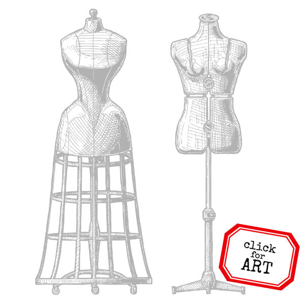 Vintage Dress Forms Rubber Stamp Save 20%