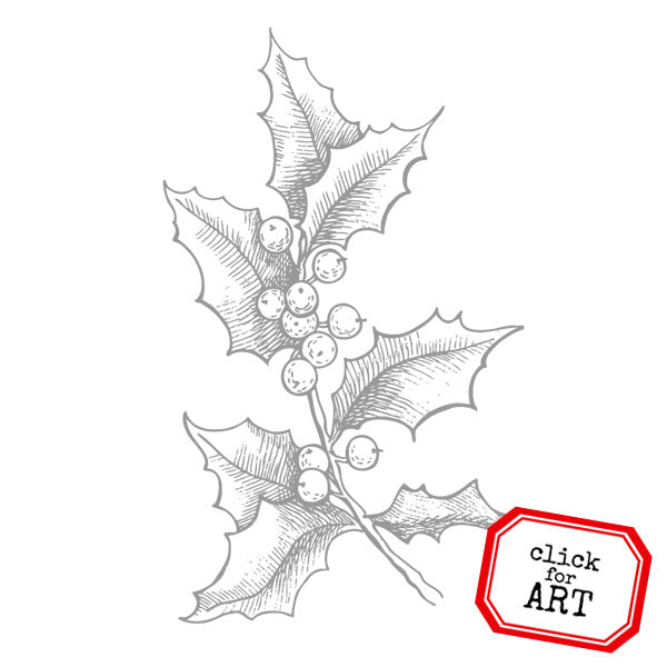 Holly Sprig Rubber Stamp Save 20%