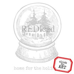 Home for the Holidays Snow Globe Rubber Stamp