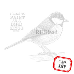 I Like To Paint As a  Bird Sings Rubber Stamp