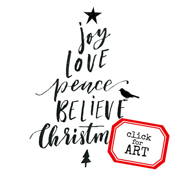 Joy Love Peace Christmas Rubber Stamp