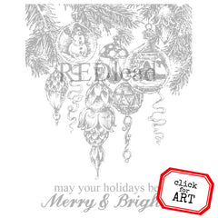 Merry and Bright Christmas Rubber Stamp