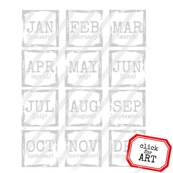 Months of the Year Rubber Stamp