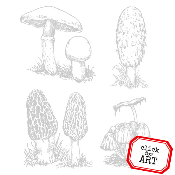 Woodland Mushrooms Rubber Stamp