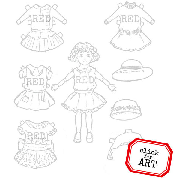 Little Sister Annie Paper Doll Rubber Stamp Kit