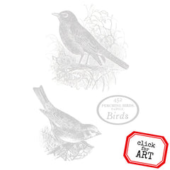 Perching Birds Bird Rubber Stamps