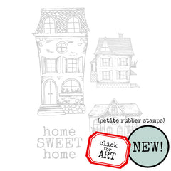 small house rubber stamps