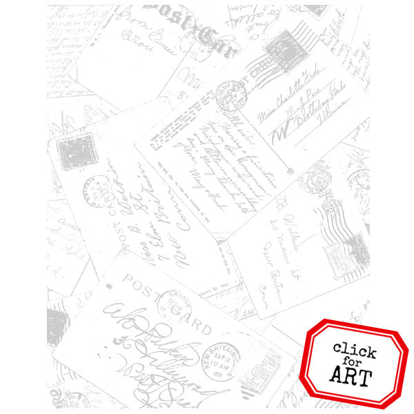 Post Card Background Rubber Stamp