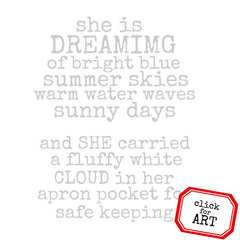 She Is Dreaming Rubber Stamp