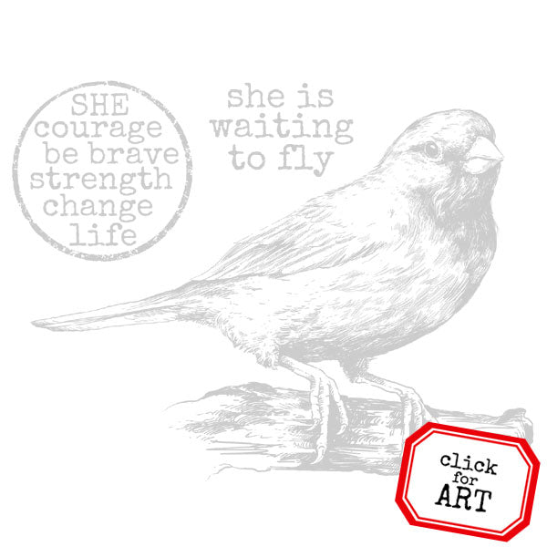 She Is Waiting To Fly Bird Rubber Stamp