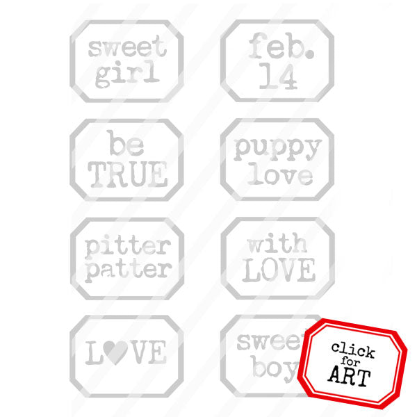 Sweet Girl Little Labels Rubber Stamp