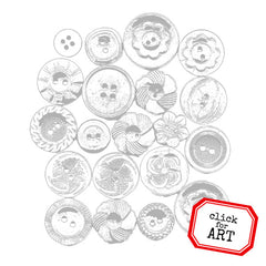 Vintage Buttons Rubber Stamp