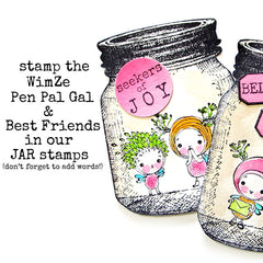 Wee WimZe Pen Pal Gal Wood Mount Rubber Stamp