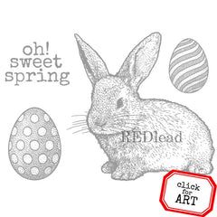 Easter Bunny Rubber Stamp