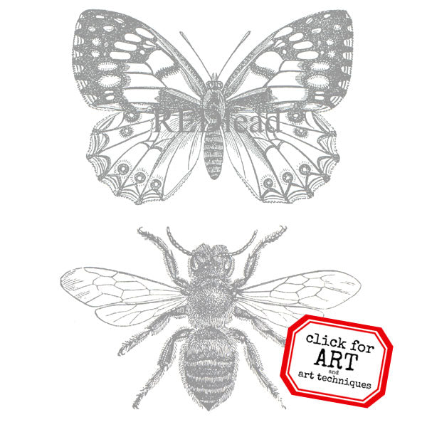 butterfly and bee rubber stamp