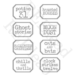 Halloween Little Labels Rubber Stamp