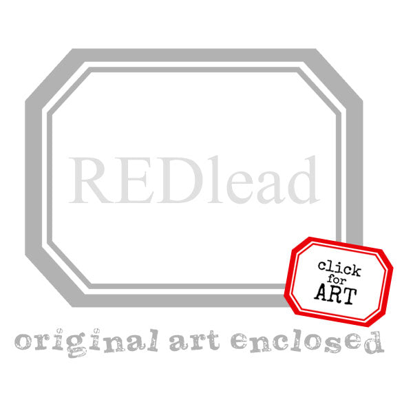 Original Art Enclosed Label Rubber Stamp