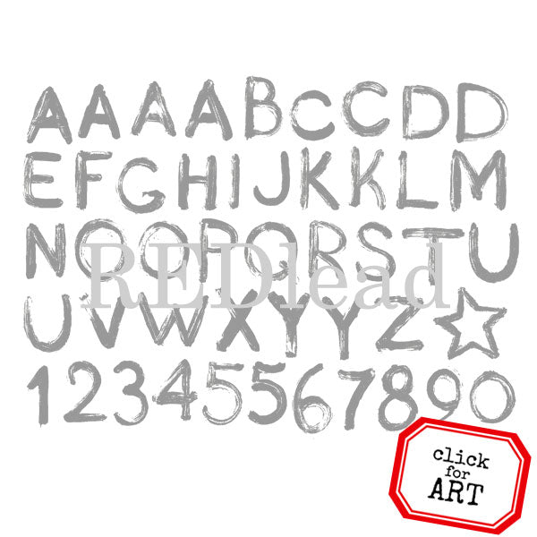 Painted Alphabet Rubber Stamp