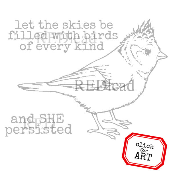 Let the Skies Be Filled with Birds Rubber Stamp