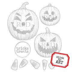 Tricks Treats Rubber Stamp