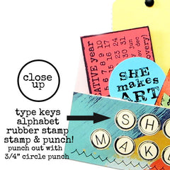 Typewriter Keys Alphabet Rubber Stamp