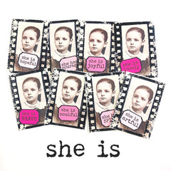 She is Artful Little Labels Rubber Stamp