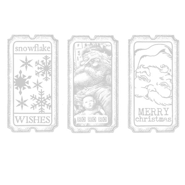 Snowflake Wishes Tickets Christmas Rubber Stamp