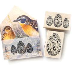 3 Speckled Eggs Wood Mount Rubber Stamp