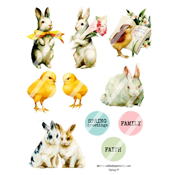 Rabbit and Chicks Vintage Collage Sheet