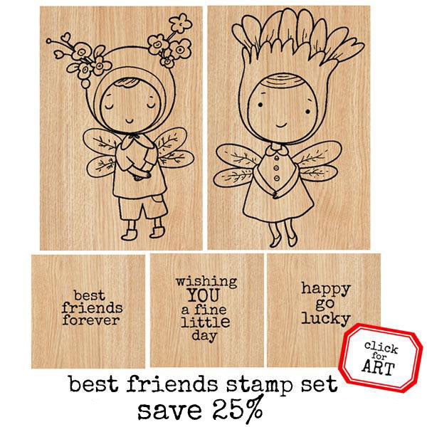 Best Friends Wood Mounted Rubber Stamp Set Save 25%