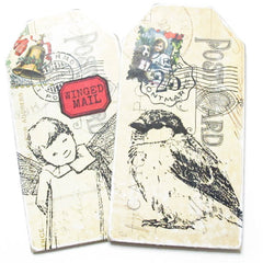 Winged Mail Bird Rubber Stamp