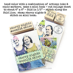Starry Nights Moonlit Skies Wood Mount Rubber Stamp