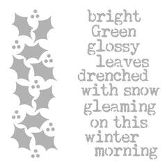 "Christmas Stencil Bright Green Glossy Leaves Drenched with Snow 6"" x 6"""