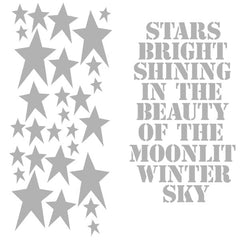 "Christmas Stencil Stars Bright Shining in the Beauty of the Moonlit Winter Sky 6"" x 6"""