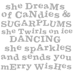 "Christmas Stencil She Dreams of Candies and Sugarplums 6"" x 6"""