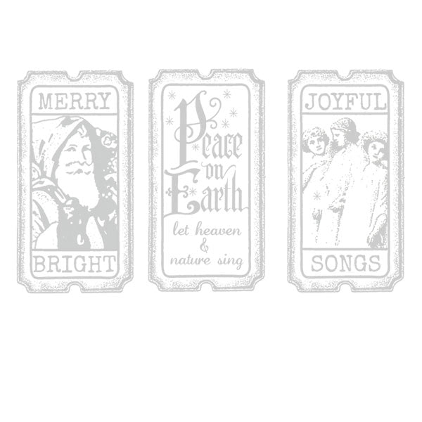 Peace on Earth Christmas Tickets Rubber Stamp