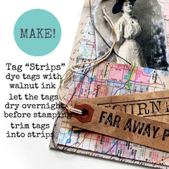 how to make travel tag art with rubber stamps