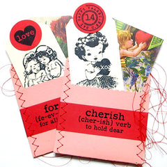 rubber stamped valentine tags