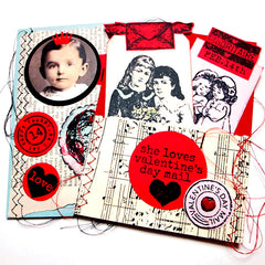 vintage style valentine rubber stamps
