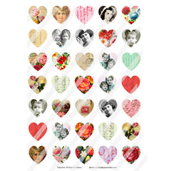 Valentine 38 Hearts Collage Sheet