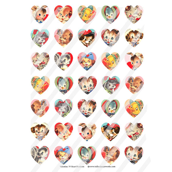 Valentine 39 Heart Pendants Collage Sheet