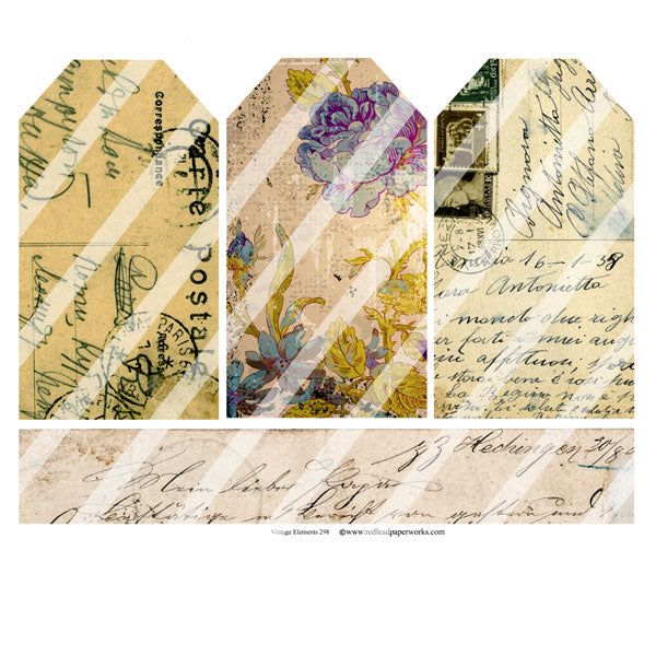 Vintage Elements 298 Collage Sheet Tags