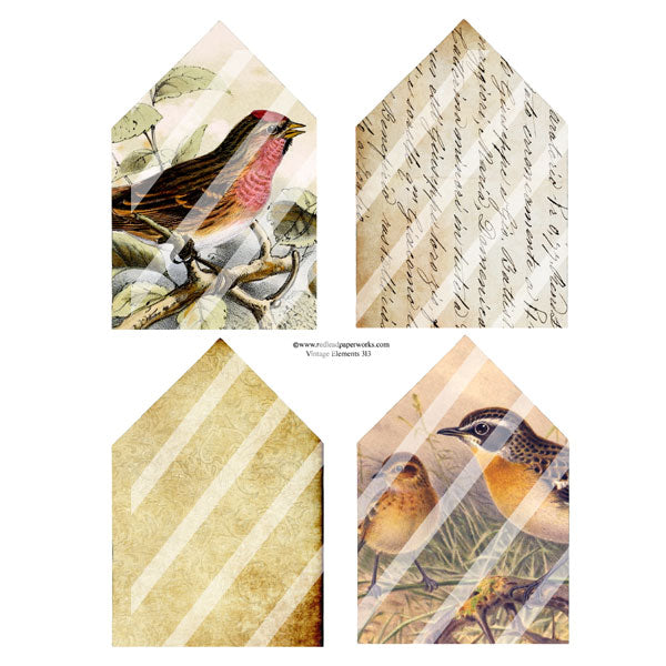 Vintage Elements 313 House Shapes Collage Sheet